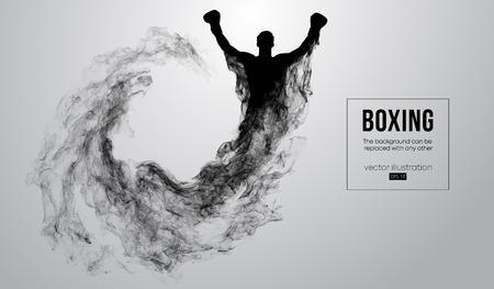 Silueta abstracta de un boxeador, mma, luchador de ufc sobre el fondo blanco de partículas, polvo, humo, vapor. El boxeador es el ganador. El fondo se puede cambiar a cualquier otro. Ilustración vectorial