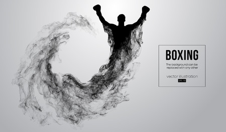 Abstract silhouette of a boxer, mma, ufc fighter on the white background from particles, dust, smoke, steam. Boxer is winner. Background can be changed to any other. Vector illustration