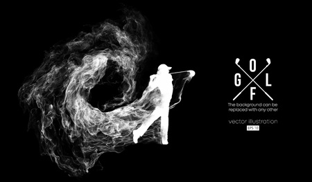Abstract silhouette of a golf player, golfer on the dark, black background from particles, dust, smoke, steam. Golfer kicks the ball. Background can be changed to any other. Vector illustration Vectores