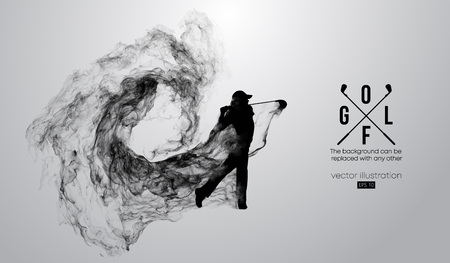 Abstract silhouette of a golf player, golfer on the white background from particles, dust, smoke, steam. Golfer kicks the ball. Background can be changed to any other. Vector illustration Vectores
