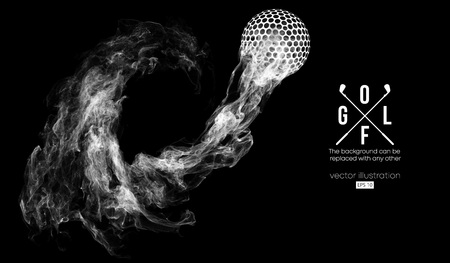 Abstract silhouette of a golf ball on the dark, black background from particles, dust, smoke, steam. Golf player, golfer. Background can be changed to any other. Vector illustration Vectores