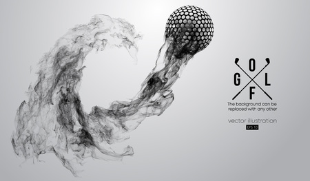 Abstract silhouette of a golf ball on the white background from particles, dust, smoke, steam. Golf player, golfer. Background can be changed to any other. Vector illustration Çizim