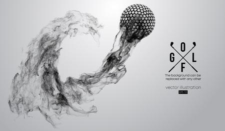 Silueta abstracta de una pelota de golf sobre el fondo blanco de partículas, polvo, humo, vapor. Jugador de golf, golfista. El fondo se puede cambiar a cualquier otro. Ilustración vectorial