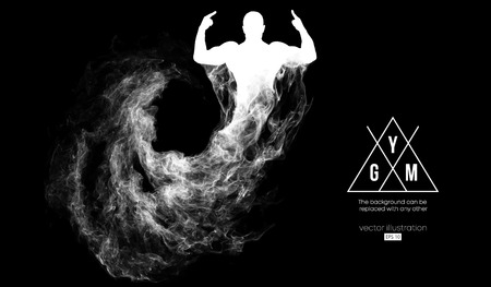 Abstract silhouette of a bodybuilder. gym logo on the dark, black background from particles, dust, smoke, steam. Bodybuilder training. Background can be changed to any other. Vector illustration
