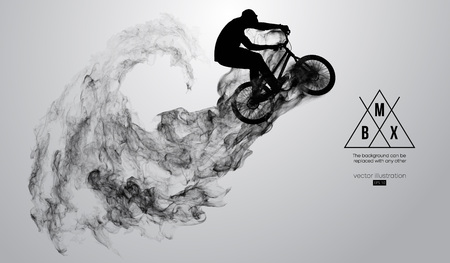 Abstract silhouette of a bmx rider on the white background from particles, dust, smoke, steam. Bmx rider jumps and performs the trick. Background can be changed to any other. Vector illustration Vectores