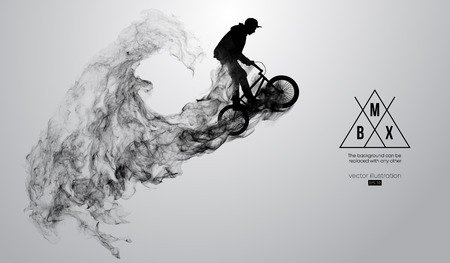 Abstract silhouette of a bmx rider on the white background from particles, dust, smoke, steam. Bmx rider jumps and performs the trick. Background can be changed to any other. Vector illustration Ilustração