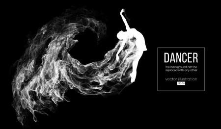 Silhouette abstraite d'une fille de dencing, femme, ballerine sur le fond sombre et noir des particules. Ballet et danse moderne. L'arrière-plan peut être changé en n'importe quel autre. Illustration vectorielle