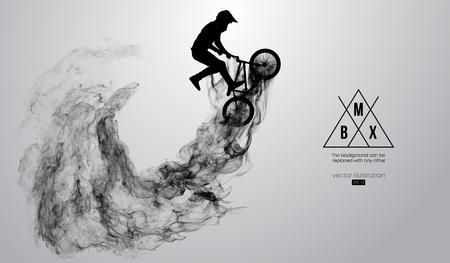 Abstract silhouette of a bmx rider on the white background from particles, dust, smoke, steam. Bmx rider jumps and performs the trick. Background can be changed to any other. Vector illustration Иллюстрация