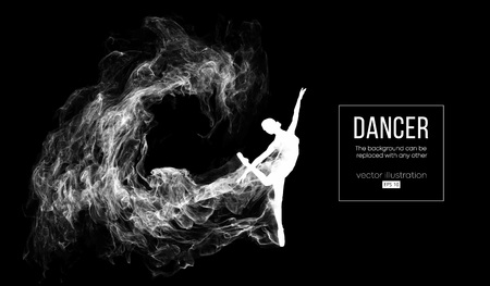 Abstract silhouette of a dencing girl, woman, ballerina on the dark, black background from particles. Ballet and modern dance. Background can be changed to any other. Vector illustration Illusztráció