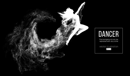 Abstract silhouette of a dencing girl, woman, ballerina on the dark, black background from particles. Ballet and modern dance. Background can be changed to any other. Vector illustration Illustration