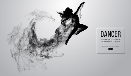 Abstract silhouette of a dencing girl, woman, ballerina on the white background from particles. Ballet and modern dance. Background can be changed to any other. Vector illustration Reklamní fotografie - 117952936
