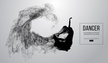 Abstraktes Schattenbild eines dencing Mädchens, einer Frau, einer Ballerina auf dem weißen Hintergrund aus Partikeln. Ballett und moderner Tanz. Hintergrund kann zu jedem anderen geändert werden. Vektor-Illustration Vektorgrafik