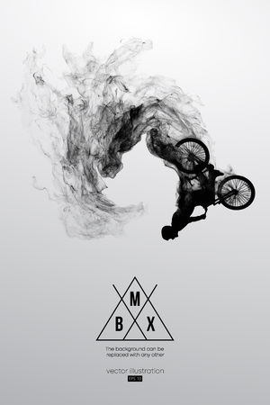 Abstract silhouette of a bmx rider on the white background from particles, dust, smoke, steam. Bmx rider jumps and performs the trick. Background can be changed to any other. Vector illustration Çizim