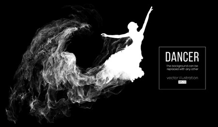 Abstract silhouette of a dencing girl, woman, ballerina on the dark, black background from particles. Ballet and modern dance. Background can be changed to any other. Vector illustration Foto de archivo - 118850903