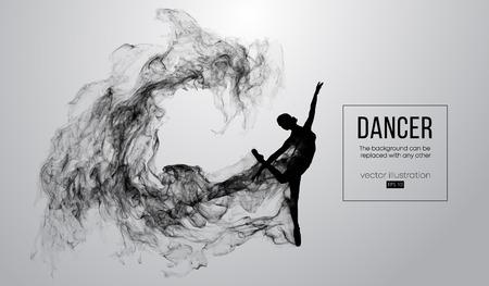 Silueta abstracta de una niña, mujer, bailarina dencing sobre el fondo blanco de partículas. Ballet y danza moderna. El fondo se puede cambiar a cualquier otro. Ilustración vectorial