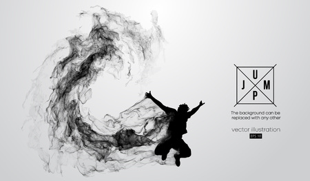 Abstract silhouette of a jumping man on the white background from particles, dust, smoke, steam. Background can be changed to any other. Vector illustration Çizim