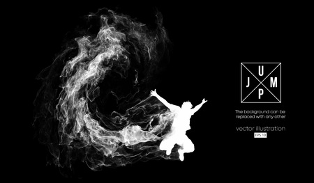 Abstract silhouette of a jumping man on the dark, black background from particles, dust, smoke, steam. Background can be changed to any other. Vector illustration  イラスト・ベクター素材