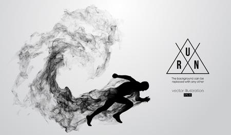 Abstraktes Schattenbild eines laufenden Athletenmannes auf dem weißen Hintergrund von Partikeln, Staub, Rauch. Athlet läuft Sprint und Marathon. Hintergrund kann zu jedem anderen geändert werden. Vektor-Illustration