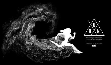 Abstract silhouette of a running athlete girl, woman on the black background from particles, dust, smoke. Athlete runs sprint and marathon. Background can be changed to any other. Vector illustration 向量圖像