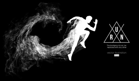 Abstract silhouette of a running athlete man on the dark, black background from particles, dust, smoke. Athlete runs sprint and marathon. Background can be changed to any other. Vector illustration