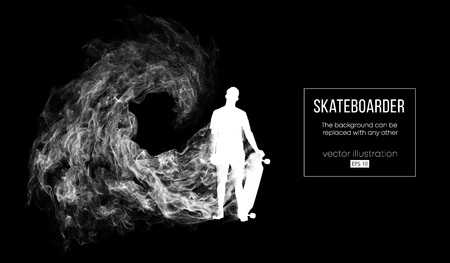 Abstract silhouette of a skateboarder on the dark black background from particles, dust, smoke. Skateboarder jumps and performs the trick. Background can be changed to any other. Vector illustration Banque d'images - 124638048