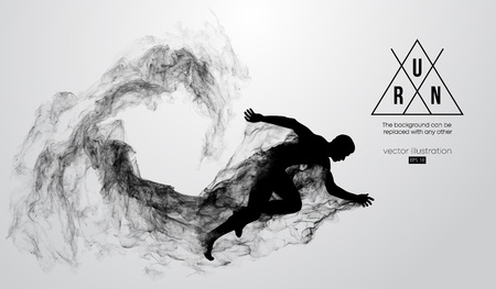 Abstract silhouette of a running athlete man on white background. Athlete runs sprint and marathon. Vector illustration