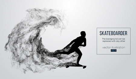Abstract silhouette of a skateboarder on the white background. Skateboarder jumps and performs the trick. Vector Illustration