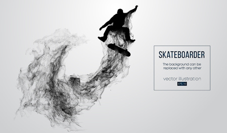 Abstract silhouette of a skateboarder on the white background. Skateboarder jumps and performs the trick. Vector Иллюстрация