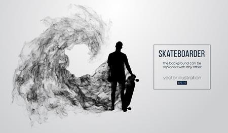 Silueta abstracta de un patinador sobre el fondo blanco. Skater salta y realiza el truco. Vector