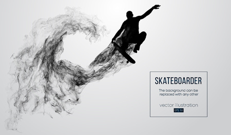 Abstract silhouette of a skateboarder on the white background from particles, dust, smoke, steam. Skateboarder jumps and performs the trick. Background can be changed to any other. Vector illustration