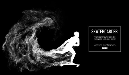 Abstract silhouette of a skateboarder on the dark black background. Skateboarder jumps and performs the trick. Vector