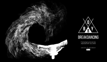 Abstract silhouette of a breakdancer, man, bboy, breaker, breaking on the dark black background. Hip-hop dancer. Vector Illustration