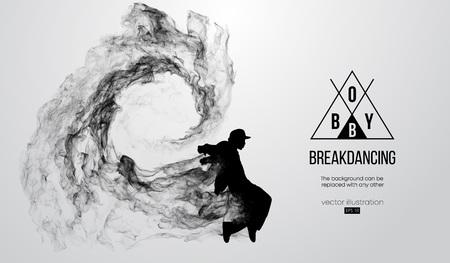Silueta abstracta de un breakdancer, hombre, bboy, breaker, rompiendo sobre el fondo blanco. Bailarina de hip-hop. Vector