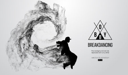 Streszczenie sylwetka breakdancer, mężczyzna, bboy, łamacz, łamiąc na białym tle. Tancerka hip-hopu. Wektor