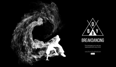 Abstract silhouette of a breakdancer, man, bboy, breaker, breaking on the dark black background from particles, dust, smoke. Hip-hop dancer. Background can be changed to any other. Vector illustration