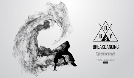 Abstract silhouette of a breakdancer, man, bboy, breaker, breaking on the white background. Hip-hop dancer. Vector