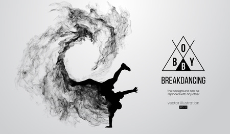 silueta de un breakdancer, hombre, rompedor rompiendo