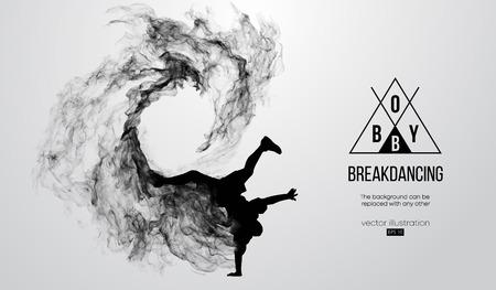 sylwetka tancerza breakdance, mężczyzny, łamiącego łamacz