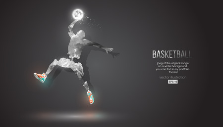 Abstract silhouette of a basketball player on dark black background from clouds, dust, smoke, steam. Basketball player jumping and performs slam dunk. Background can be changed to any other. Vector