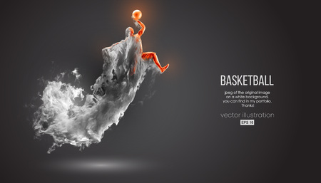 Abstract silhouette of a basketball player on dark black background from dust, smoke, steam. Basketball player jumping and performs slam dunk. Vector illustration Stok Fotoğraf