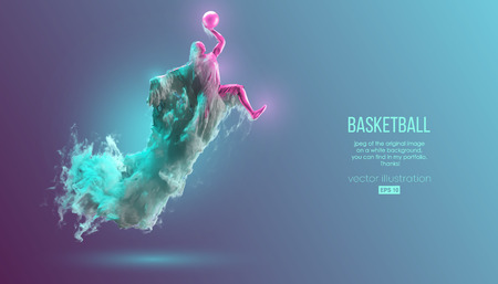 Abstract silhouette of a basketball player on pink and green background from dust, smoke, steam. Basketball player jumping and performs slam dunk. Vector illustration Stok Fotoğraf