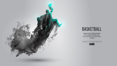 Abstract silhouette of a basketball player on white background from dark dust, smoke, steam. Basketball player jumping and performs slam dunk. Vector illustration