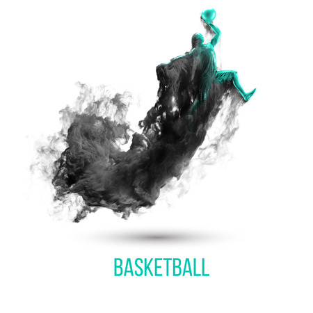 Abstract silhouette of a basketball player on white background, isolated from dust, smoke, steam. Basketball player jumping and performs slam dunk. Background can be changed to any other.