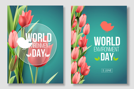 World Environment Day card, banner. Color living coral. 5 june. Eco, bio, nature Çizim
