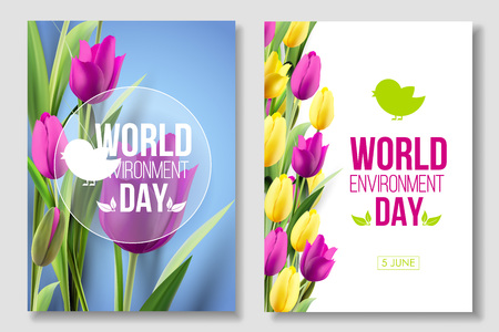 World Environment Day card, banner 5 june. Eco, bio, nature. Vector illustration