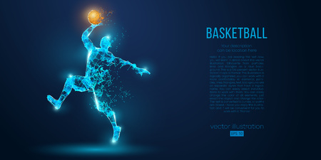 Abstract basketball player from particles, lines and triangles on blue background. Low poly neon wireframe outline