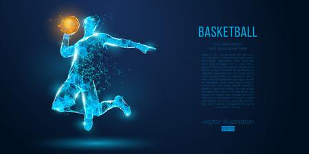 Joueur de basket-ball abstrait de particules, de lignes et de triangles sur fond bleu. Contour filaire néon low poly