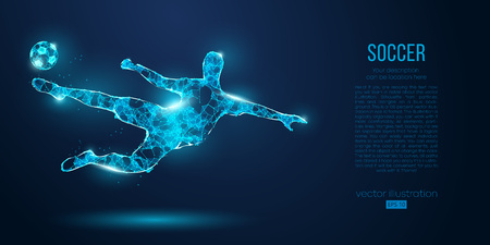 Abstract soccer player, footballer from particles on blue background. Low poly neon wireframe outline football player Ilustração