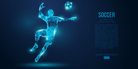 Abstract soccer player, footballer from particles on blue background. Low poly neon wireframe outline football player Иллюстрация
