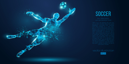 Abstract soccer player, footballer from particles on blue background. Low poly neon wireframe outline football player Illustration